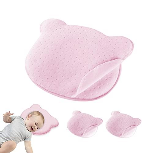 Dreamark Almohada para bebé contra la cabeza plana con dos fundas de almohada, almohada ortopédica para evitar y tratar el síndrome de cabeza plana (0-12 meses, espuma viscoelástica, rosa)
