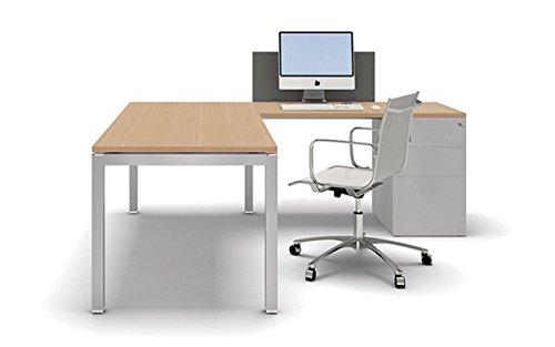 Bralco Schreibtisch mit Container Gate, Eckschreibtisch, Winkelschreibtisch, Arbeitszimmer, hochwertige Büromöbel