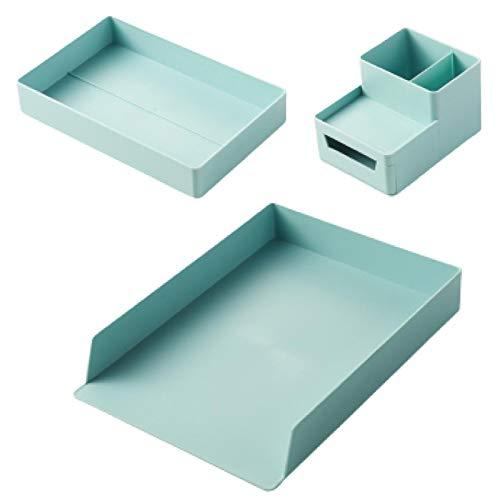 レタートレイ レターケース A4 縦型 書類トレー 書類ケース デスクトレー グリーン 小物整理 レタートレー 組み換え自由 オシャレ 6点セット (グリーン)