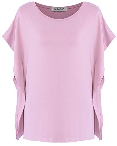 Van Der Rich ® - T-Shirt Kimono (Made in Italy) - Damen (Rosa, S-M)