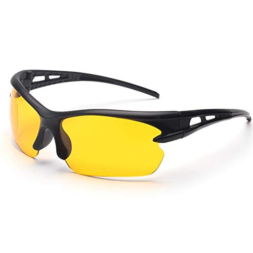 Veiligheidsbril Beschermende Antifog Glazen UV400 Winddicht Eyewear Bicycle Zonnebril E Licht Safety Welding Goggles Werken Studeren Leven (Color : Yellow, Size : One size)