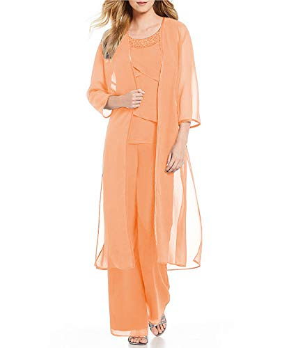 JinXuanYa Damen Chiffon Elegant Hosenanzuge mit Arm Tunika Blusen Weitem Bein Langhose Hosenanzug Party Abendmode Dreiteilig Hosen Anzug Set anpassen(EUR42, Light Orange)