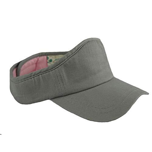 GO HEAVY Herren Damen Sonnenblenden Tennis Golf Cap Fitness Sport Visier Größenverstellbar Klettverschluss | Grau/Rosa One Size