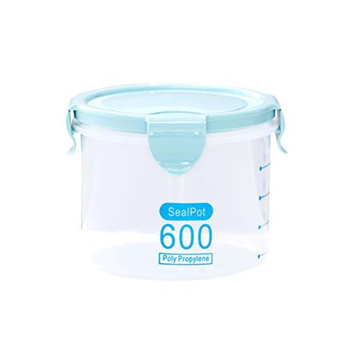 Bestonzon Boîte de conservation hermétique en plastique étanche avec couvercles de verrouillage pour céréales, farine, sucre, riz (bleu 600 ml)