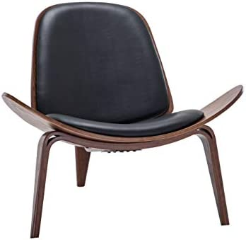 Best BELLEZE Mid Century Modern Tripod Plywood Lounge Chair Walnut Bentwood Upholstered Faux Leather, Bla