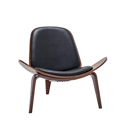 BELLEZE Mid Century Modern Tripod Plywood Lounge Chair Walnut Bentwood Upholstered Faux Leather, Black
