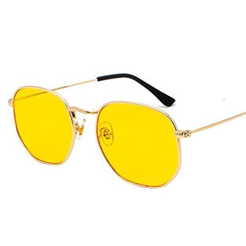 Sunglases Cuadrados Hombres Hexagonales Gafas De Sol Mujeres Metal Marco Gafas De Pesca Oro Gris Gafas (Lenses Color : Gold Yellow)