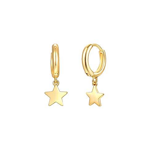 MYEARS Women Star Hoop Earrings Gold Huggie Dangle Drop 14K Gold Filled Tiny Boho Beach Simple Delicate Handmade Hypoallergenic Jewelry Gift