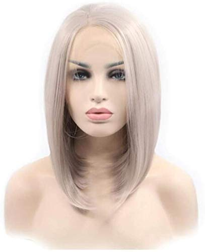 Peluca de mujer de pelo corto recto sintético encaje frontal peluca corta recta sintética personalidad de moda natural Cosplay chica fiesta disfraces uso diario actor Internet estrella ancla