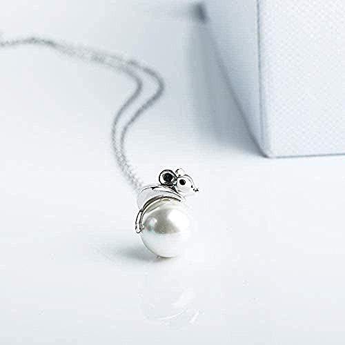 Collar de moda hombre mujer collar collar de plata de ley 925 para mujer rata con incrustaciones del zodiaco perla de agua dulce año de la rata collar de plata colgante collar niñas niños regalo colga
