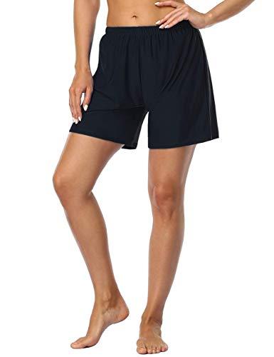 Firpearl Women's Swim Board Shorts Sport Boyleg Trunk Swimwear Bottom Black US18