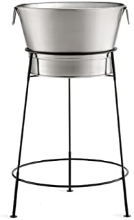 """Tablecraft 20"""" Stainless Steel Beverage Tub with Black Stand 