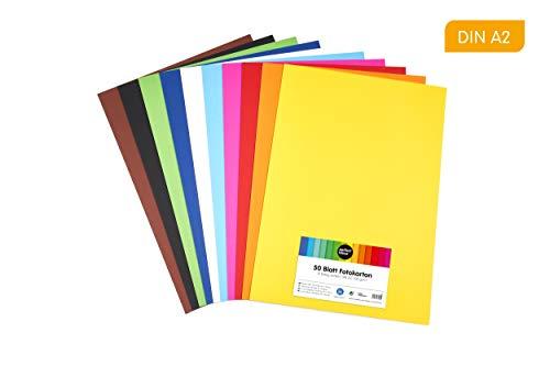 perfect ideaz cartulina cuché A2 de colores 50 hojas, cartulina, de color, en 10 colores diferentes, grosor de 300g/m², hojas de la máxima calidad
