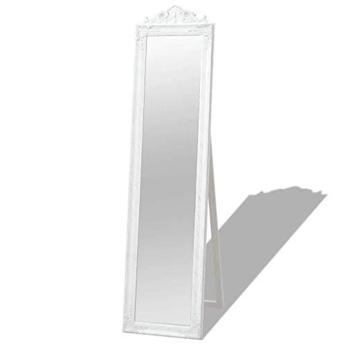 vidaXL Espejo de Pie Estilo Barroco 160x40 cm Color Blanco Espejo Cuerpo Entero