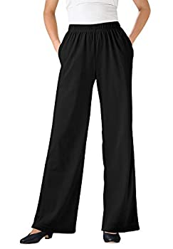 Woman Within Women s Plus Size Petite 7-Day Knit Wide Leg Pant - 2X Black