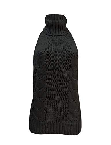 Olens Japan Style Turtleneck Sleeveless Open Back Sweater Anime Cosplay Sweater, Black, One Size