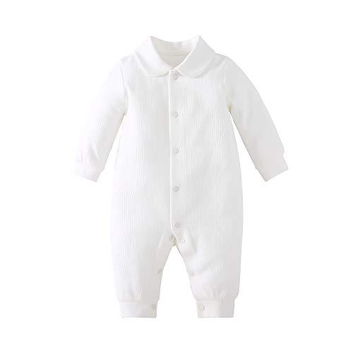 pureborn Newborn Unisex Baby Collared Solid Baptism Cotton One-Piece Jumpsuit White 0-3 Months