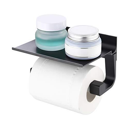 Amazon Brand - Umi Toilettenpapierhalter Klopapierhalter mit Ablage WC Papier Halterung Aluminium Papierhalterung Toilettenpapier Halter Organizer Wandmontage Matt Schwarz, BPH400-BK