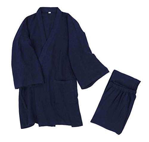 Pigiami da Uomo in Cotone Stile Giapponese per la casa, Kimono, Top + Pantaloni, C01