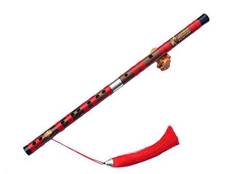 (ジ-ライク)G-like 女竹笛 古風 横笛 プロ フルート 演奏楽器 C調からG調まで選択可能 児童 大人 初心者 (C調68cm, ブラウン)