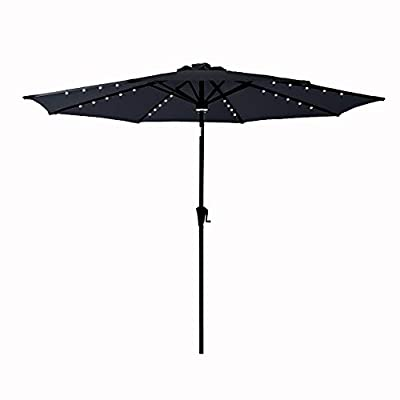 C-Hopetree 10 ft Outdoor Patio Market Umbrella with Solar LED Lights and Tilt - Black