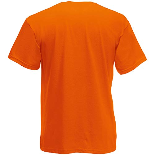 Fruit of the Loom - Camiseta Básica de Manga Corta de Calidad diseño Original Hombre Caballero (Grande (L)) (Naranja)