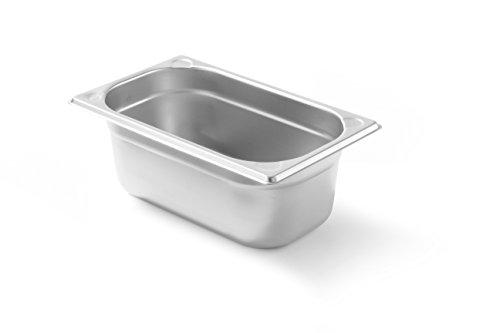 HENDI Gastronormbehälter, Temperaturbeständig von -40° bis 300°C, Heissluftöfen-Kühl- und Tiefkühlschränken-Chafing Dishes-Bain Marie, Stapelbar, 2,7L, GN 1/4, 265x162x(H)100mm, Edelstahl