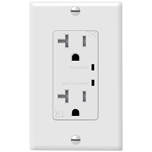 TOPGREENER TGTRSS220R Decorator Receptacle Outlet w/Surge Protector, White
