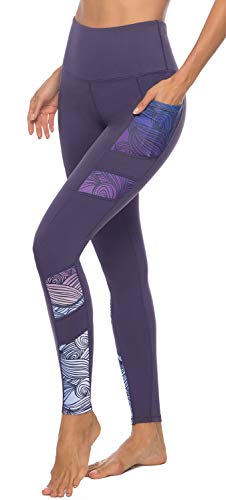 Persit Yoga Pants for Women with Pockets High Waisted Print Workout Leggings Athletic Gym Soft Yoga Leggings - Purple - L