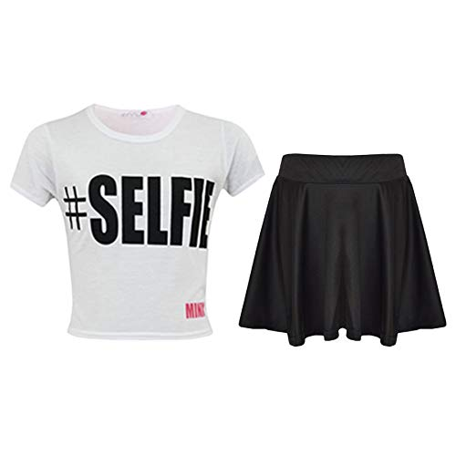 Kids Girls Comic Graffiti Leopard #Selfie Crop Top & Fashion Skater Skirt Set