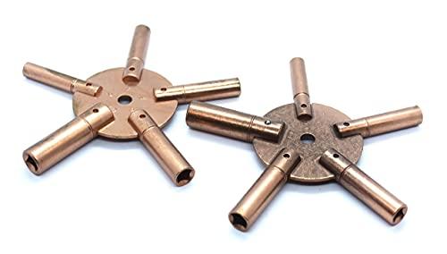 Harts Juego de 2 llaves de cuerda de reloj antiguas de cobre