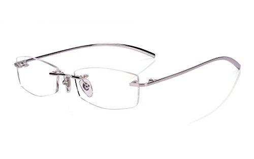 Agstum Pure Titanium Lightweight Rimless Frame Optical Glasses Eyeglasses