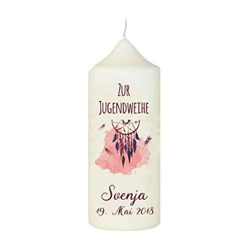 Livingstyle & Wanddesign Kerze zur Jugendweihe mit Name und Datum Motiv 1, Rot, Weiß