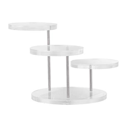 TEHAUX Soportes Verticales de Pedestal de Exhibición de Joyas Organizador Giratorio Redondo Transparente Estante de Cosméticos Vitrina Coleccionable de Mesa Elevadores para Anillo de