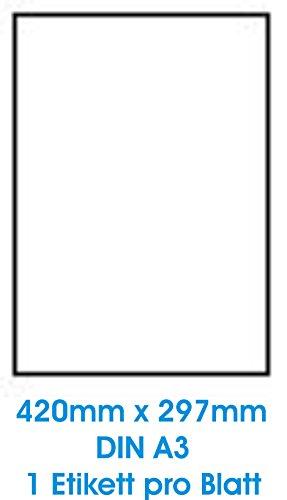 Zelfklevende witte etiketten in verschillende formaten. 100 vel DIN A4, 70 g/m2, geschikt voor inkjetprinter-, laserprinters en kopieerapparaten. DIN A3 : 420,0x297,0