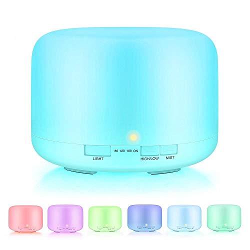 qianxia Aromatherapie Machine Home luchtbevochtiger 500ml Geur lamp met Afstandsbediening,7 Kleur Cyclus Lichten, Laag lawaai, waterloos auto Uit,Antidry,Timing Functie