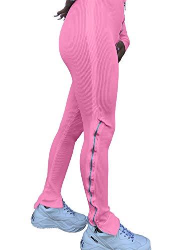 CORAFRITZ Pantalones deportivos de color sólido para mujer, pantalones elásticos con cremallera dividida, pantalones acampanados, casual, para uso en la parte inferior