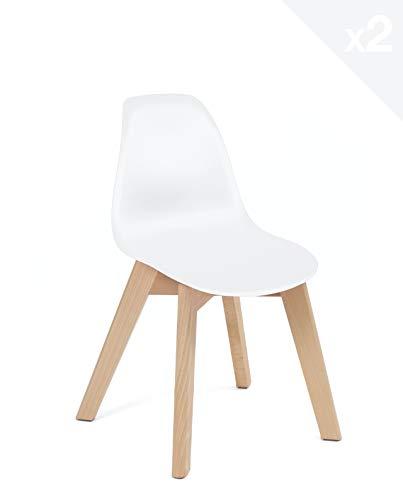 KAYELLES Chaise Enfant scandinave - Lot de 2 - Bureau - Chambre - Cuisine (Blanc)