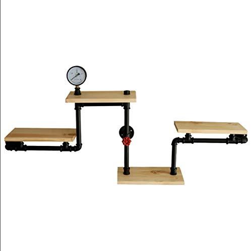 WYJW Vintage Industrial Edge, 4 planken, wandplank voor waterpijp, retro-look, natuurlijk hout