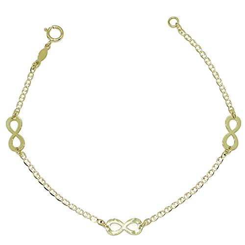 Pulsera de oro amarillo de 18k macizo para mujer con 3 infinitos y cadena tipo ancla. 19.00cm de larga. Cierre reasa. Peso, 1.80gr de oro de 18K.