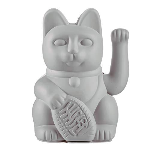 Donkey Products - Lucky Cat Grey - graue Winkekatze   Japanische Glücksbringer Deko-Katze in stylischem matt-Farbton