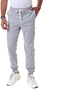 Off Cliff Cotton Elastic Drawstring Waist Side-Pocket Cuffed Sweatpants for Men