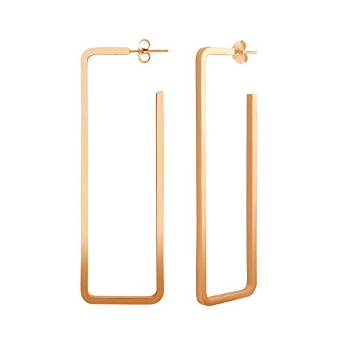 555Jewelry Stainless Steel Large Geometric Stud Hoop Rectangle Earrings for Women Rose Gold