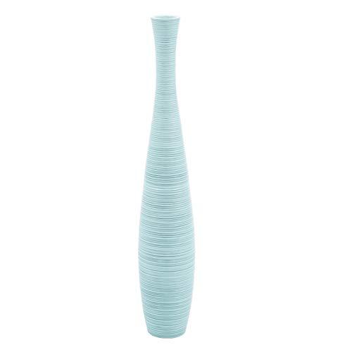Leewadee Grande Vaso da Terra: Vaso Alto, Elemento Decorativo Fatto a Mano in Legno Esotico, Vaso per per Rami Decorativi, 90 cm, Blu