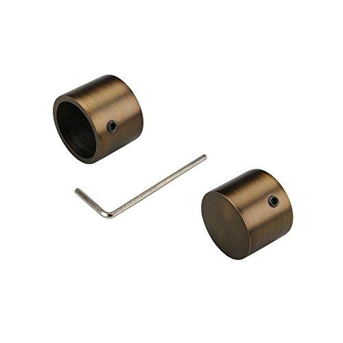Liedeco Endkappe, Endstück 25 mm | Bronze | 2 Stück