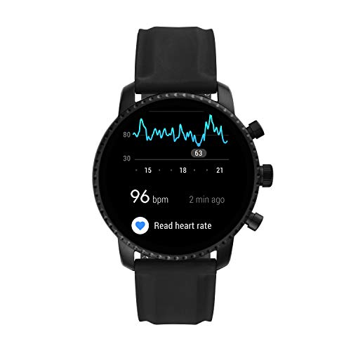 Fossil Men's Gen 4 Explorist HR Heart Rate Stainless Steel and Silicone Touchscreen Smartwatch, Color: Smooth Black (Model: BQD1000) 4