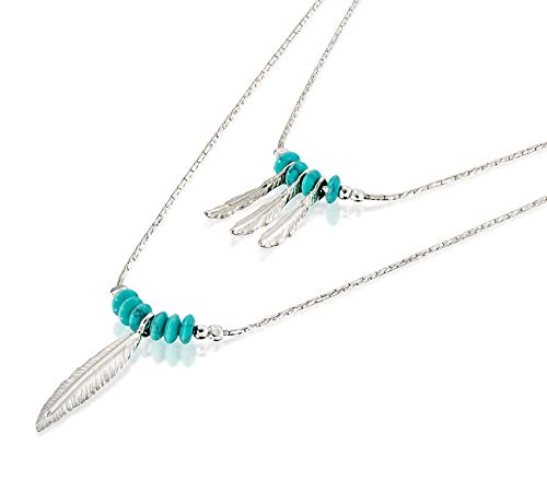 Women's 925 Sterling Silver Multi-Layer Necklace with Turquoise Beads and Feather Charms, 18'