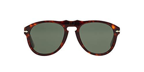 Persol PO0649 Aviator Sunglasses, Havana/Crystal Green, 56 mm
