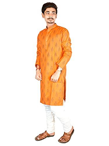 Riyashree Cotton Men's Straight Long Kurta for Men Latest Traditional Ikat Pattern Design 004
