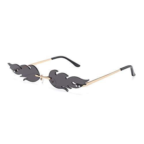 Único Gafas de Sol Sunglasses Gafas De Sol De Llama De Fuego A La Moda para Hombres Y Mujeres, Gafas De Sol Sin Montura,